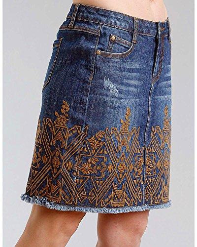 Embroidered Pocket (Stetson Women's Embroidered 5 Pocket Denim Skirt Indigo 16)