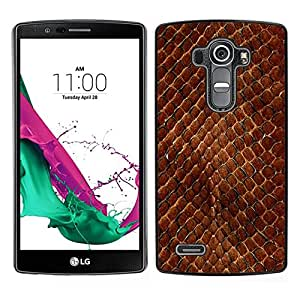// PHONE CASE GIFT // Duro Estuche protector PC Cáscara Plástico Carcasa Funda Hard Protective Case for LG G4 / Snake Skin Pattern Brown Scales Reptile Art /