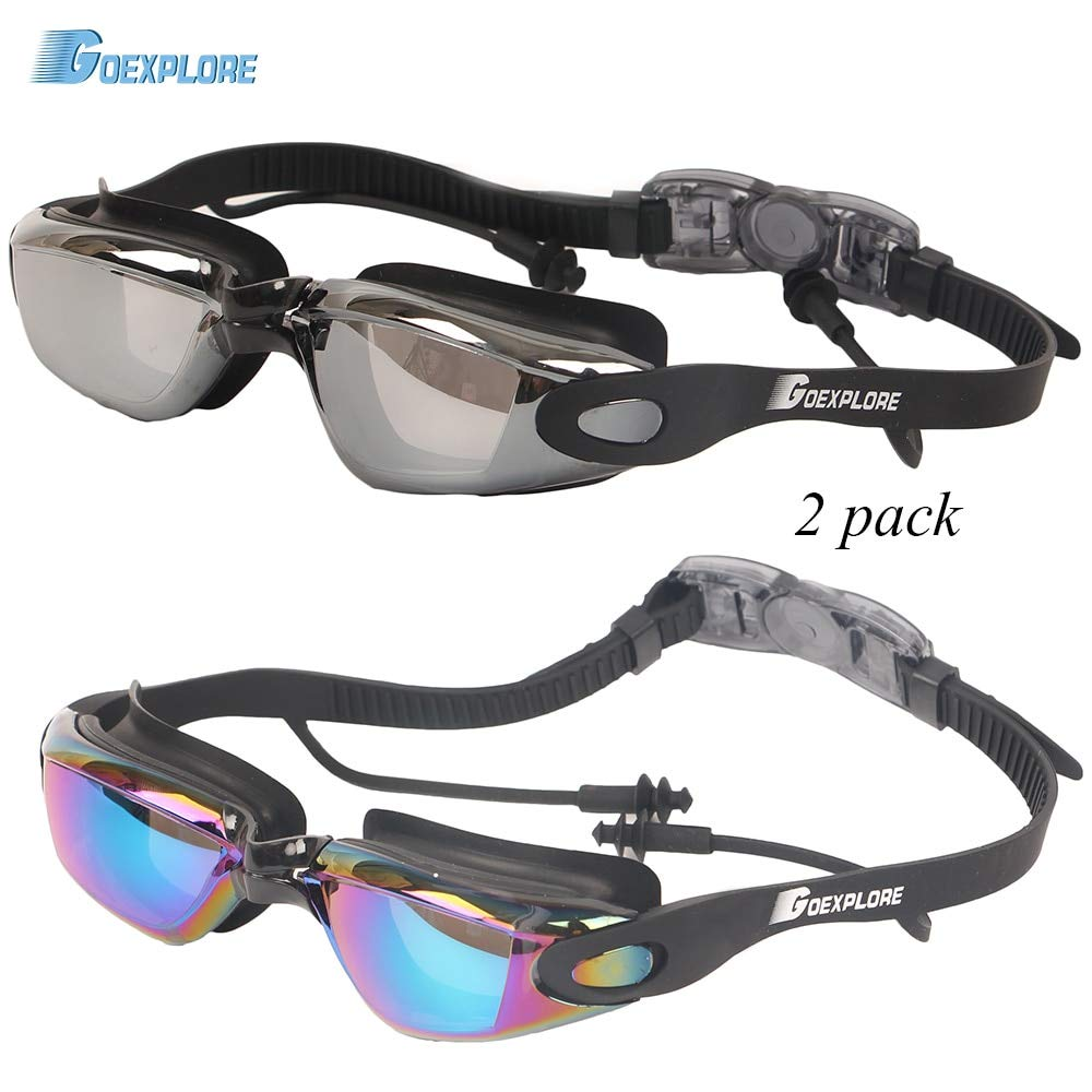INFIKNIGHT INF Goexplore 2 pcs Swimming Goggles Adult Anti-Fog UV Prougeection imperméable Swim Glasses with Libre Earplugs Hommes femmes Sport Eyewear