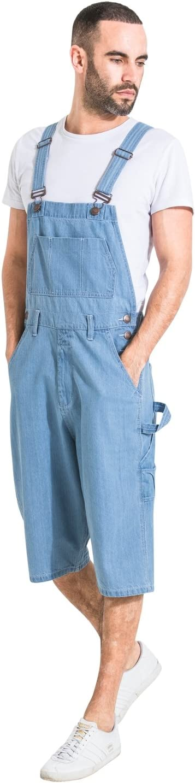 2de9dc4caa75 Uskees Mens Palewash Denim Dungaree Shorts Bib-Overall Shorts BLAKEPALE