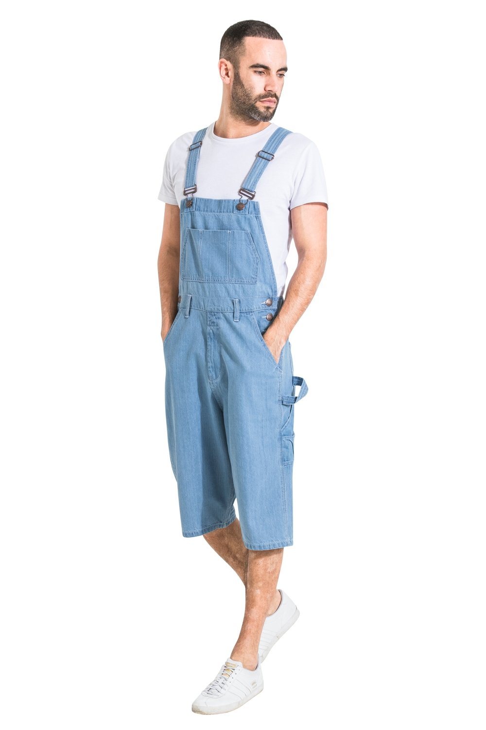 Mens Palewash Denim Dungaree Shorts Bib Overall Shorts for men USKEES