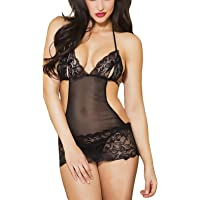 Xs and Os Women Black Teddy Lace Babydoll Lingerie with Panty