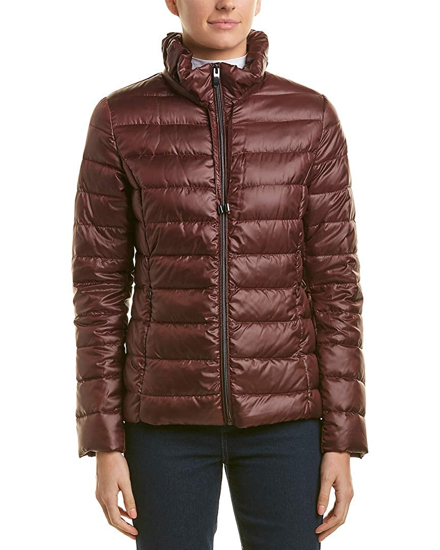 Wine Via Spiga Womens Packable Soft Puffer with Ruffle Detailed Stand Collar