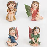 Bits and Pieces - Set of 4 Hand Painted Polyresin Mini Garden Fairy Sculptures with Gems - Create Your Own Woodland Fairy Village