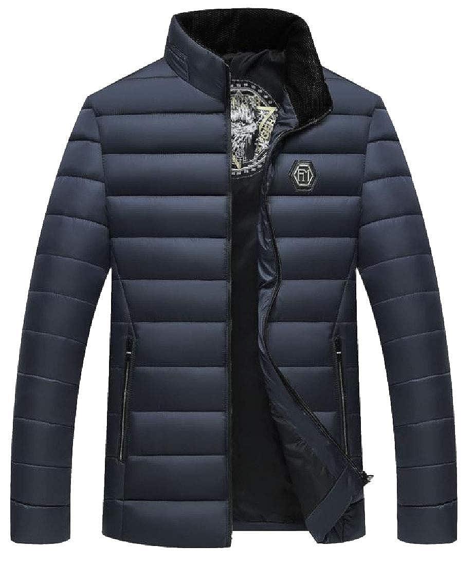 YUNY Mens Padded Thickening Hiking Tundra Jacket with Pockets Navy Blue 2XL