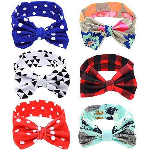 Baby Bow Knotted Headband Girl's Hair Accessories Head Wrap Plaid/Dot/Flower (Pack Of (Plaid Wide Headband)