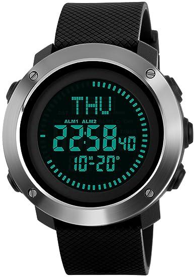 Los hombres de la Digital reloj de pulsera deportivo con cronómetro, cuenta atrás brújula hora mundial luminoso impermeable relojes de cuarzo: Amazon.es: ...