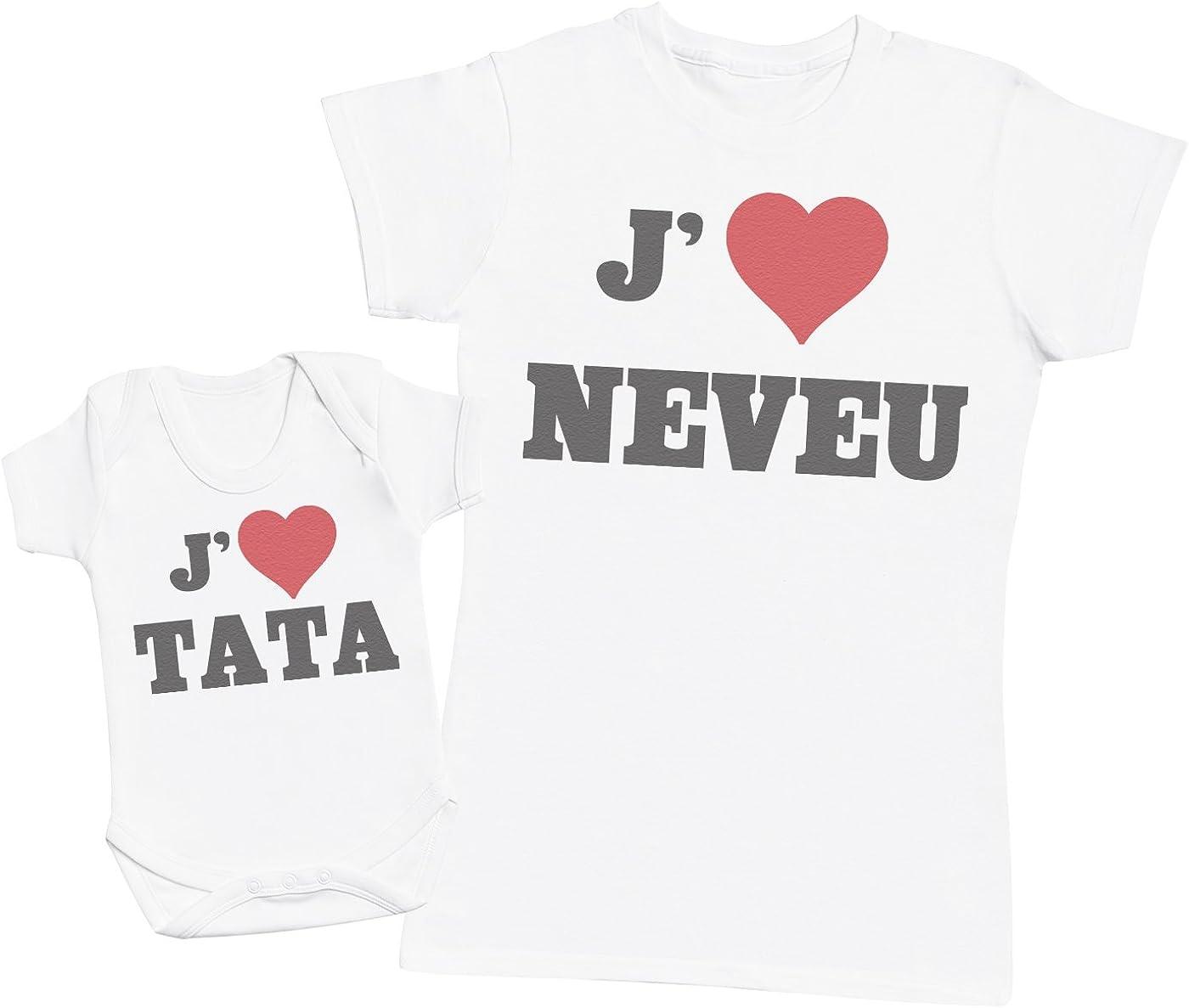 Ensemble Tata B/éb/é Cadeau Femme T Shirt /& b/éb/é Bodys Zarlivia Clothing Love Neveu /& Love Tata