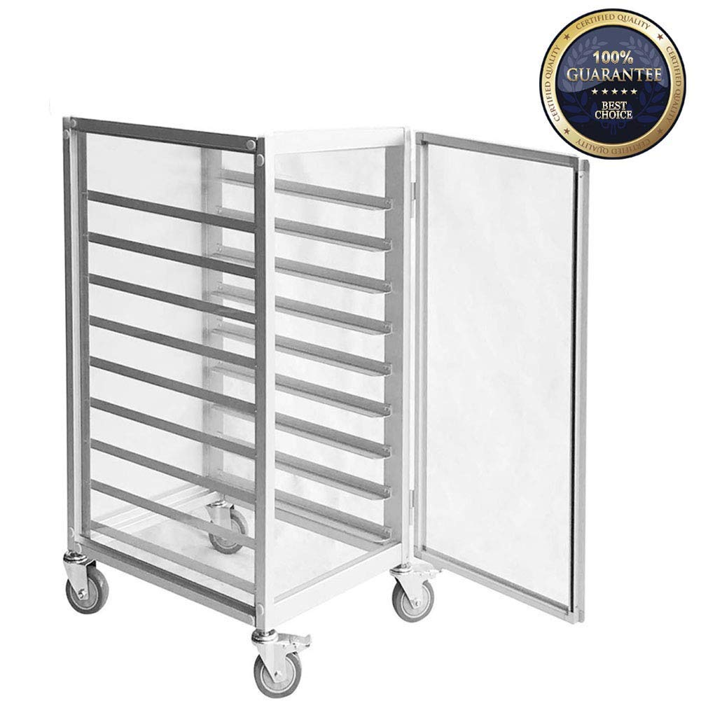SHANGPEIXUAN Commercial Bun Pan Rack with Wheel PC Hermetic Doors Mobile Kitchen Sheet Pan Rack Aluminum 9 Sheet ¡