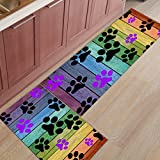 Kitchen Rug Mat Set of 2 Piece Dog Paw Prints Rustic Old Barn Inside Outside Entrance Rugs Runner Rug Home Decor,23.6x35.4in+23.6x70.9in