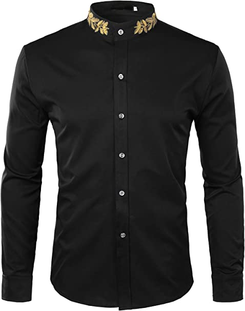 X-Future Mens Button Front Muslim Print Slim Long Sleeve Shirts