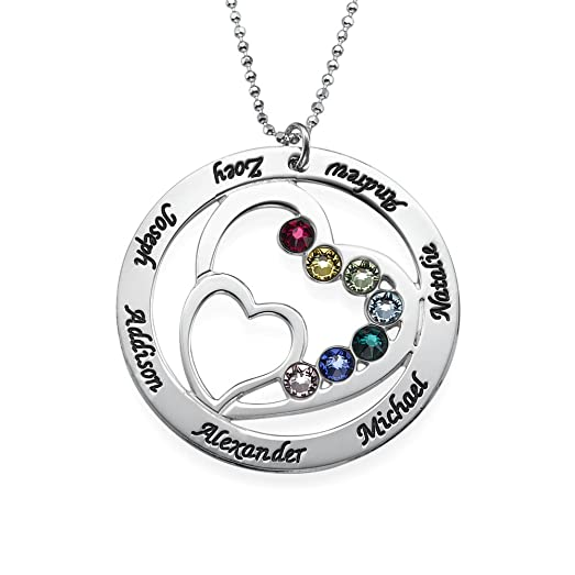 Amazon personalized heart pendant with swarovski birthstones personalized heart pendant with swarovski birthstones silver engraved necklace w names gift for moms aloadofball Choice Image