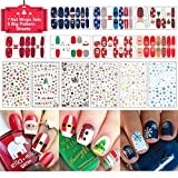 christmas TailaiMei Christmas 3D Nail Decals Stickers, 655 Pcs Self-adhesive Tips and 7 Sets Full Wrap DIY Nail Art Stencil with 1 Nail Buffer File. Include Christmas Tree/Santa/Snowflake/Snowman (13 Sheets)