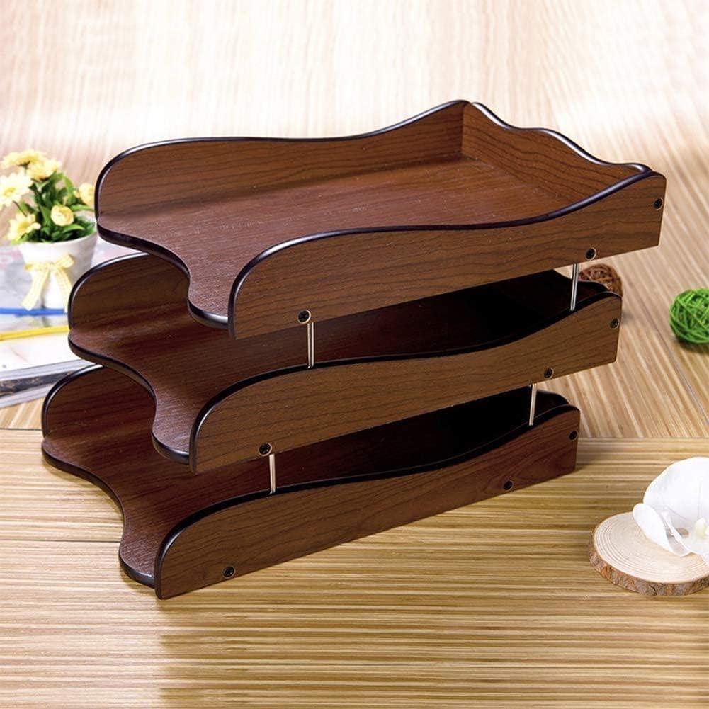 Bandeja Documentos Caoba de madera Almacenamiento de archivos de madera 3 compartimentos Organizador de archivos apilable A4 Archivo A4 Archivo para oficina y escritorio Carta Natural Color Brown ZSMF