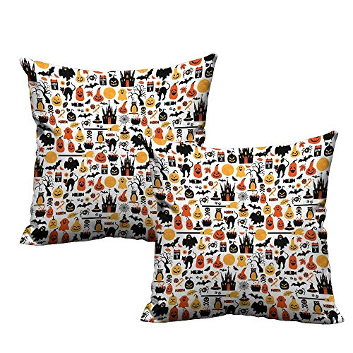 (Acelik Halloween Cushion Cases Pillowcases Halloween Icons Collection Candies Owls Castles Ghosts October 31 Theme Super Soft and Luxury, Hidden Zipper Design 24