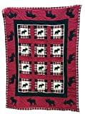 Boys Bedding Twin, Patchwork Style Quilts For Boys With Appliques, 1 Sham, 100% Cotton, 68 x 86, Multiple Designs (BLACK MOOSE)