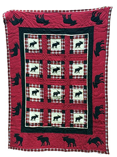 Boys Bedding Twin, Patchwork Style Quilts For Boys With Appliques, 1 Sham, 100% Cotton, 68 x 86, Multiple Designs (BLACK MOOSE) by Brilliant Home Design
