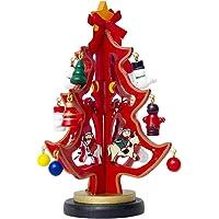 Amosfun Árbol de Navidad de Madera Regalo de cumpleaños de Navidad para Amigos (Rojo)