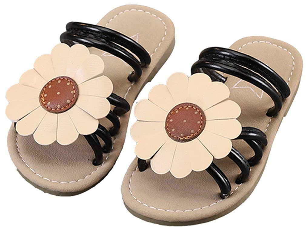 VECJUNIA Girls Sweet Slide On Strappy Sandal Slippers with Floral
