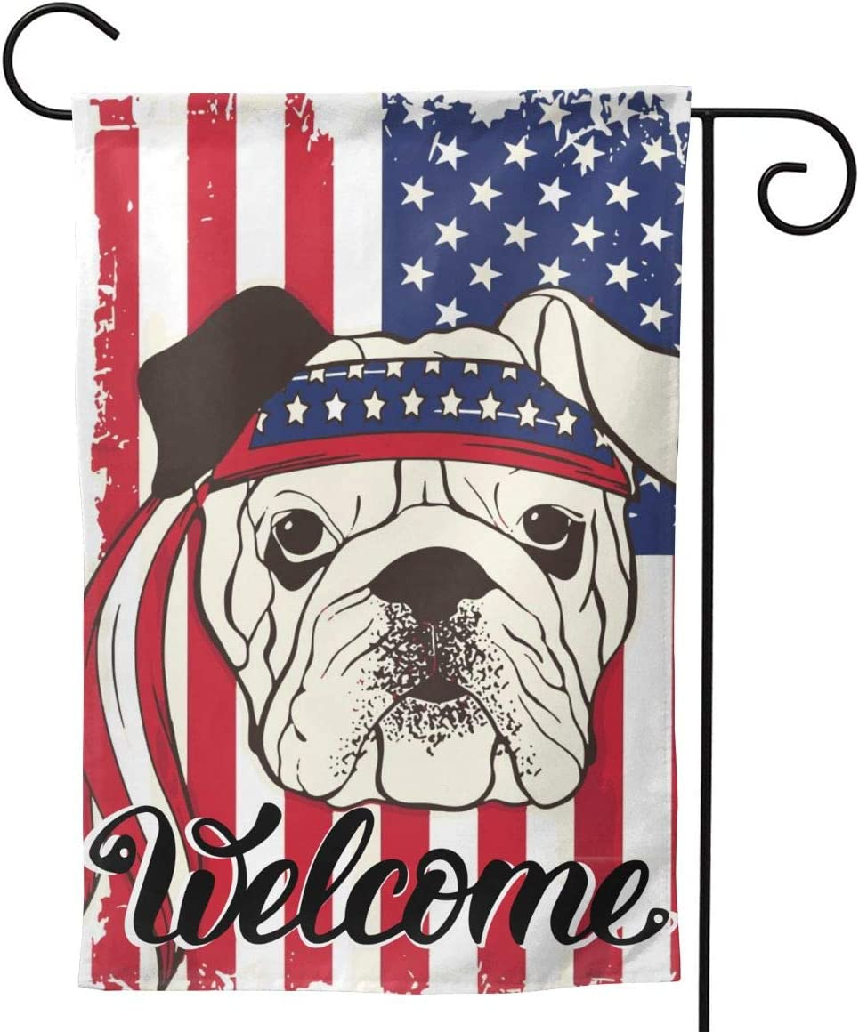 """Yishow Dog Welcome Patriotic American Flag Garden Flag Double Sided Vertical Dog Welcome Patriotic USA Flag House Flags Yard Signs Outdoor Decor 12.5"""" X 18"""""""