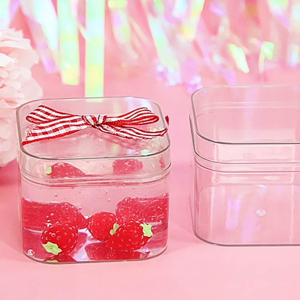 /Slime pacchi Contenitore Quadrato Organizer Rettangolare per Caramelle Spille plastilina wuweiwei12/Piccola Scatola in plastica Trasparente con Coperchio/