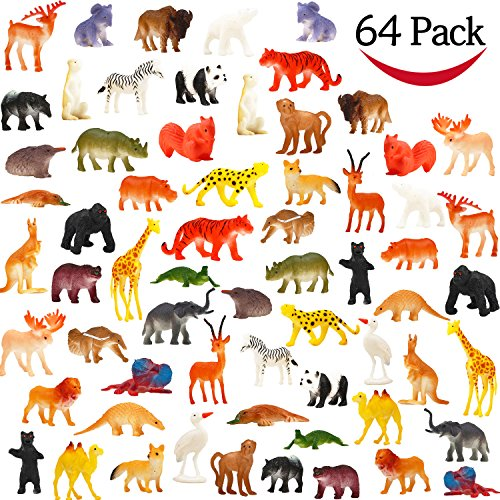 Nice Animal Toy, 64 Pack Mini Wild Plastic Animals Models Toys Kit, Funcorn Toys Jungle Realistic Animal Figure Set for Children Kids Boy Girl Party Favors Educational Toy Birthday Game Classrooms Rewards free shipping