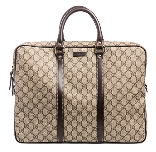 Gucci Flight bag Supreme GG Canvas Beige Ebony Brown Messenger Bag New (Bag Gucci)
