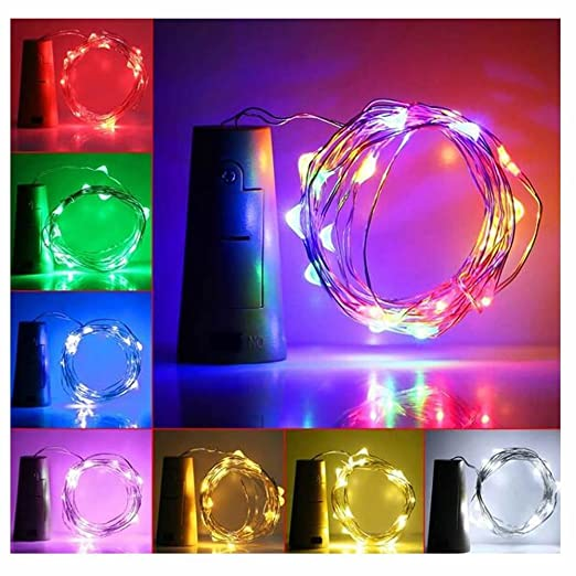 MAXGOODS 6Pcs Luces Bombillas LED en Forma de Corcho de Botella de Vino para Fiesta Bodas Festival Conciertos Decoración Árboles Navidad Carnaval (Azul): ...
