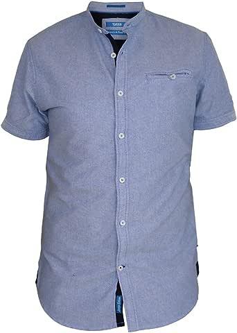 D555 Duke Camisa Oxford sin Cuello para Hombre, Manga Corta, Azul Cielo (S-XXL) Azul Azul Celeste XX-Large: Amazon.es: Ropa y accesorios