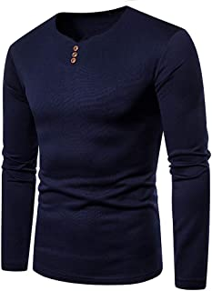 Mens Casual Slim Fit Long Sleeve Henley T Shirts V-Neck Button T-Shirt