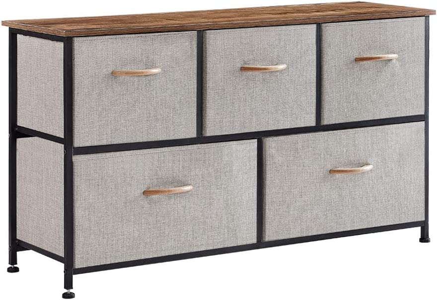 Dresser with 5 Drawers, Fabric Storage Tower, Organizer Unit, Wide Closet Shelves for Bedroom, Hallway, Entryway, Closets, Sturdy Steel Frame, Wood Top, Easy Pull Fabric Bins, Wood Handle (Grey)
