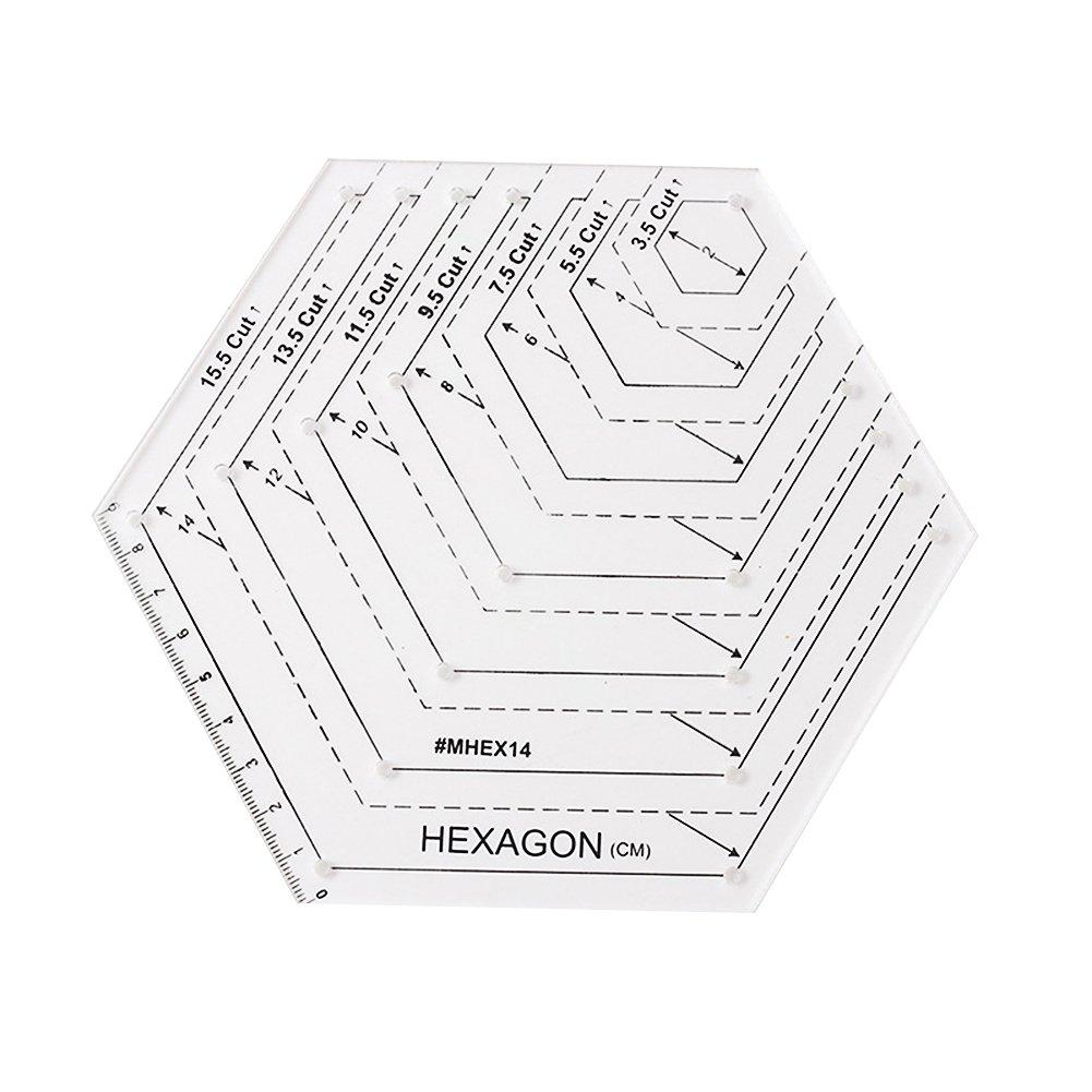Prokth righello a forma di diamante, esagonale righello DIY patchwork righello fatto a mano disegno righello Equilateral Traiangle acrilico Diamound Style-a