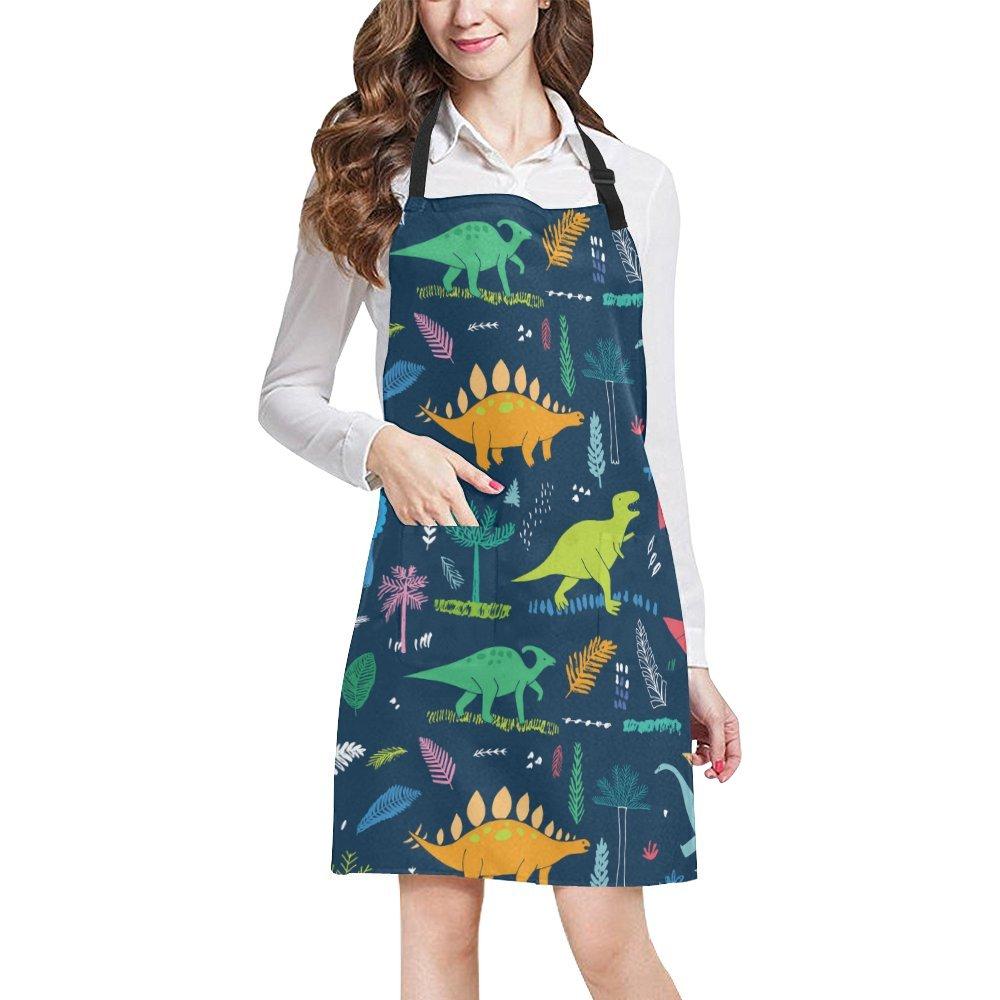 恐竜パターン印刷調整可能キッチンシェフよだれかけエプロンポケット付き料理、ベーキング、工芸、ガーデニング   B079K53B62