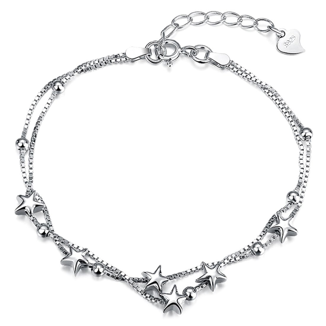 Sterling Silver Charm Bracelet Adjustable BFF Jewellery Gift for Women Beads and Stars Double Layered Box Chain 8 Inch
