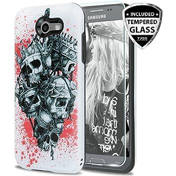 Galaxy J7 Sky Pro Case, Galaxy J7 Perx Case, Galaxy J7 V Case, Galaxy Halo Case, Galaxy J7 Prime Case, with TJS [Tempered Glass Screen Protector] Metallic ...