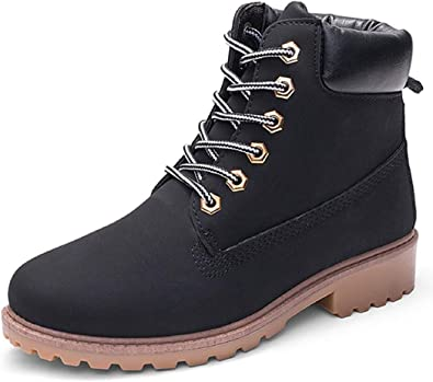 DADAWEN Womens Lace Up Low Heel Work Combat Boots Waterproof Ankle Bootie