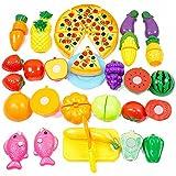 Ateid - 24 pièces - Jeu D'imitation Jeu de cuisine legumes fruits pizza a decouper - Enfant