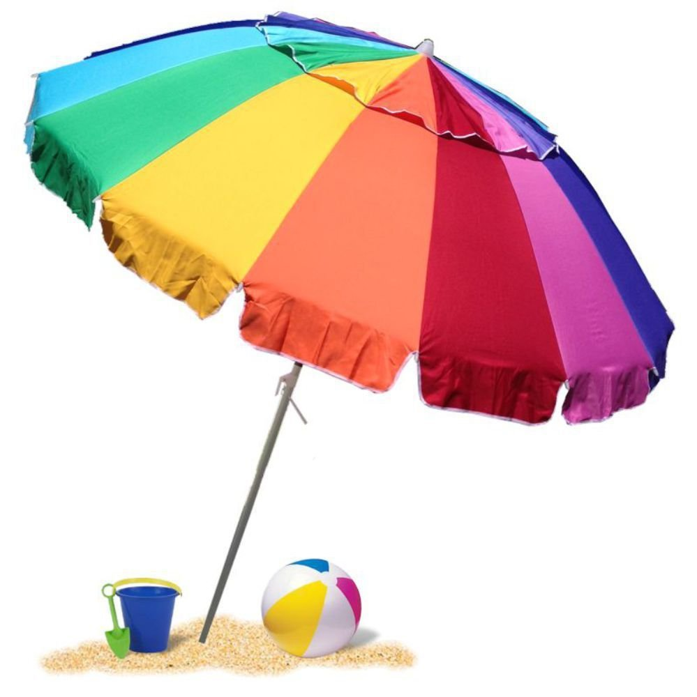 EasyGoUmbrella - Giant 8' Rainbow Beach Umbrella Heavy Duty