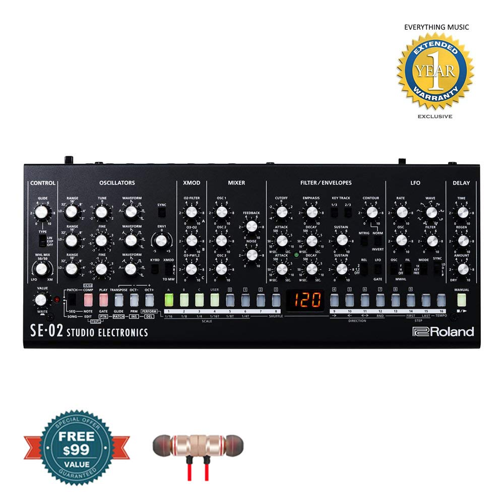 Roland SE-02 Boutique Designer Series Analog Synthesizer includes Free Wireless Earbuds - Stereo Bluetooth In-ear and 1 Year Everything Music Extended Warranty by Roland
