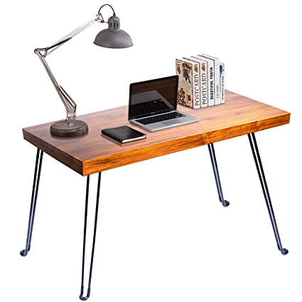 Amazon.com : Folding Computer Desk, WishaLife Modern Simple Desk Indutrial  Style Laptop Table For Home Office No Need To Install Office Light Desk :  Office ...