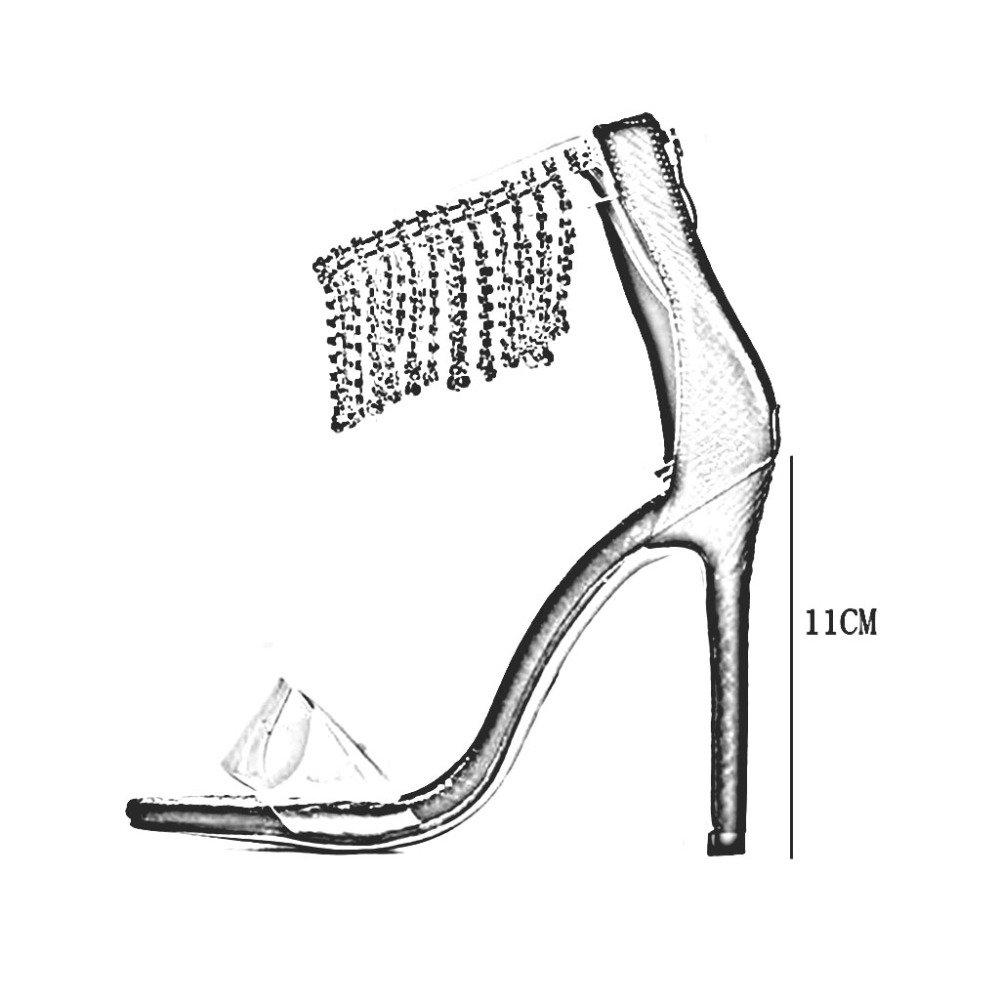 ZHRUI Sandalen Pumps Q555-10 Q555-10 Q555-10 Frau Frühling und Sommer Strass Quaste High Heels Absatzhöhe 11,5 cm 35-40 Schwarz Golden bcaa04