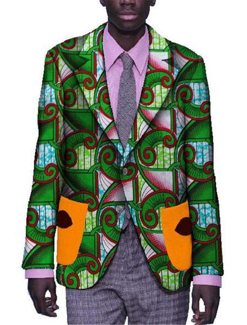 Domple Men Lapel African Print Ethnic Style 1 Button Blazer Jacket Sport Coat one US 3XL