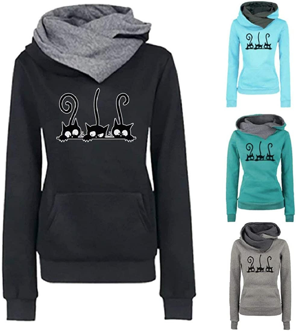 YEBIRAL Pullover Hoodie for Women Sweatshirts Plus Size Casual Cat Printing Long Sleeve Shirts Tops Blouse