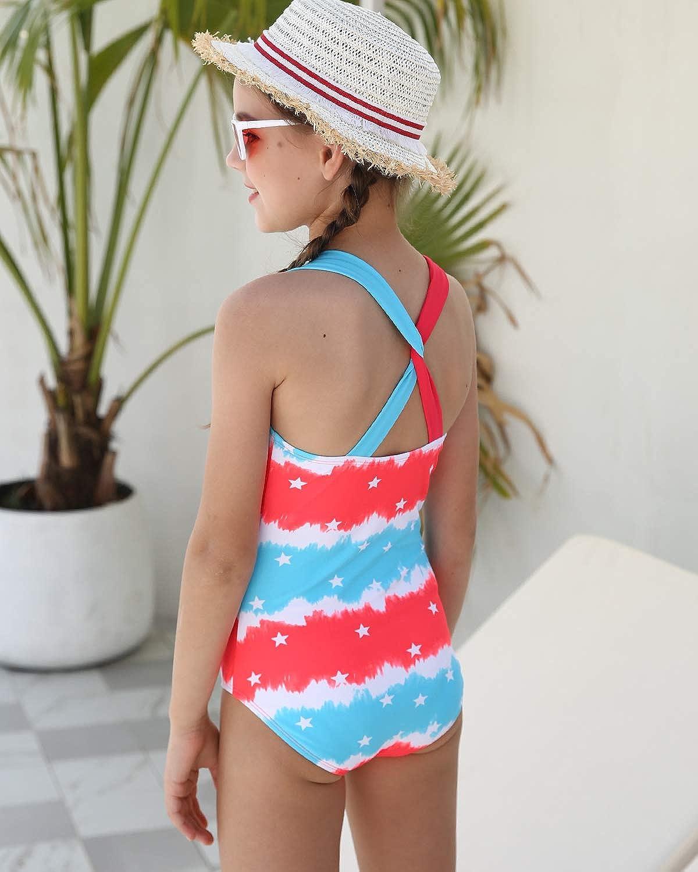 DUSISHIDAN Girls One-Piece Swimsuit Cute Bathing Suit