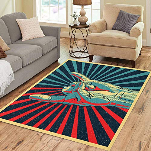 Pinbeam Area Rug Colorful Music Hand in Rock N Roll Sign Home Decor Floor Rug 5' x 7' Carpet ()