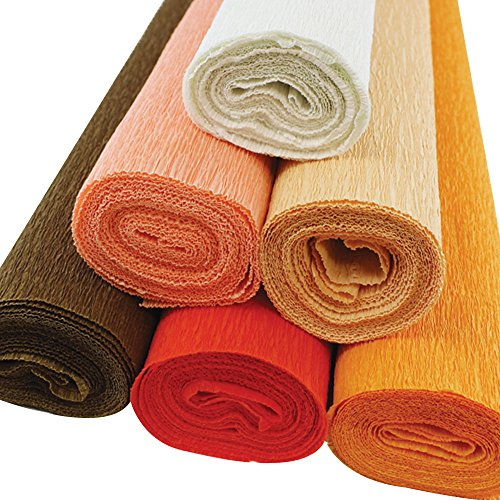 Just Artifacts Premium Crepe Paper Rolls - 8ft Length/20in Width (6pcs, Color Shades of Orange)