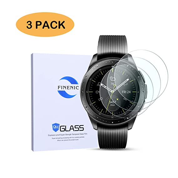 FINENIC Compatible for Samsung Galaxy Watch 42mm/Gear S2 / Gear Sport Screen Protector. Tempered Glass/Bubble Free/Scratch Resistant【3 PCS】