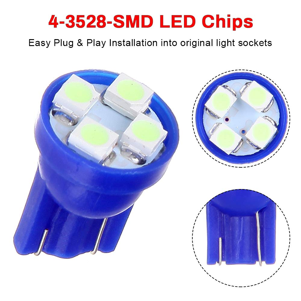 cciyu 12 Pack Ice Blue LED Bulb LED Interior Lights Accessories Replacement Package Kit Replacement fit for 2014-2017 Buick Verano
