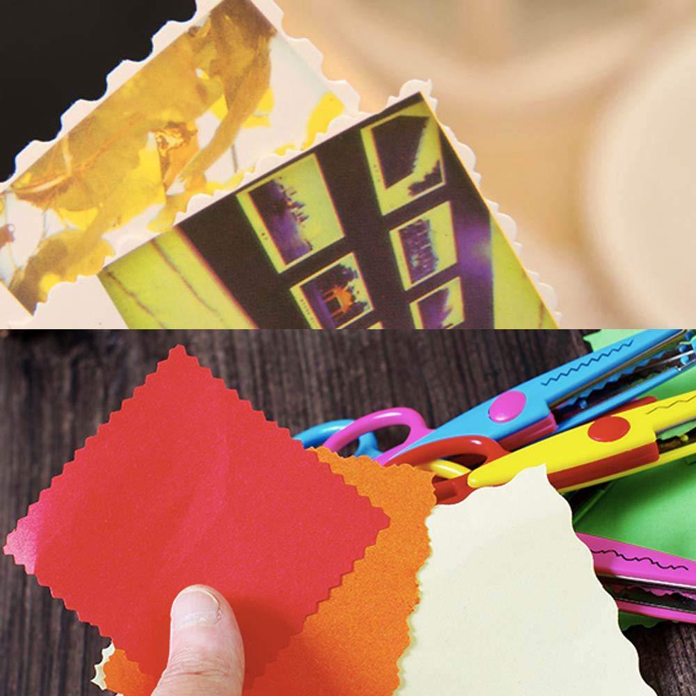 KOBWA - Tijeras decorativas para bordes de papel, plástico, tijeras de seguridad para profesores, estudiantes, manualidades, álbum de recortes, ...