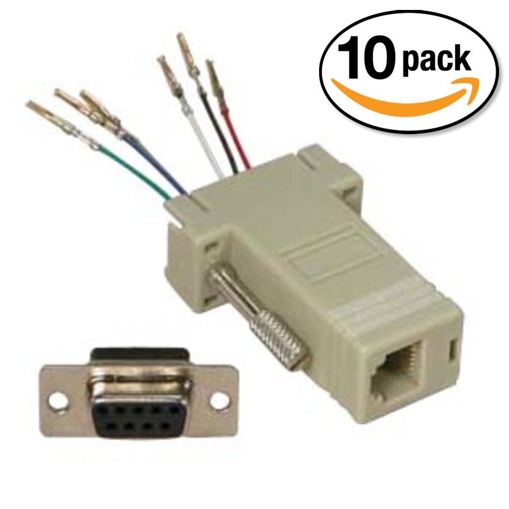 InstallerParts (10 Pack DB9 Female to RJ11/12 (6 Wire) Modular Adapter Ivory – Gold Plated